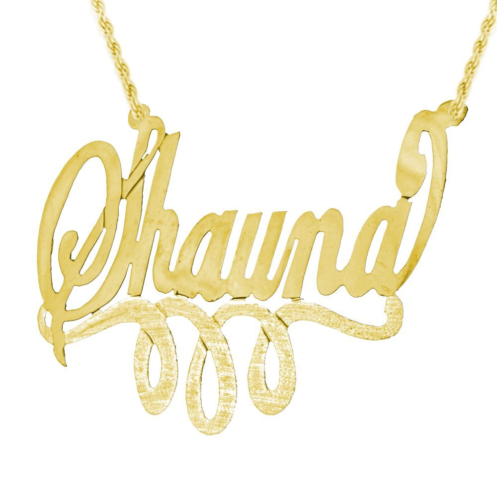14K gold-plated silver swirled nameplate necklace with looped bar underneath