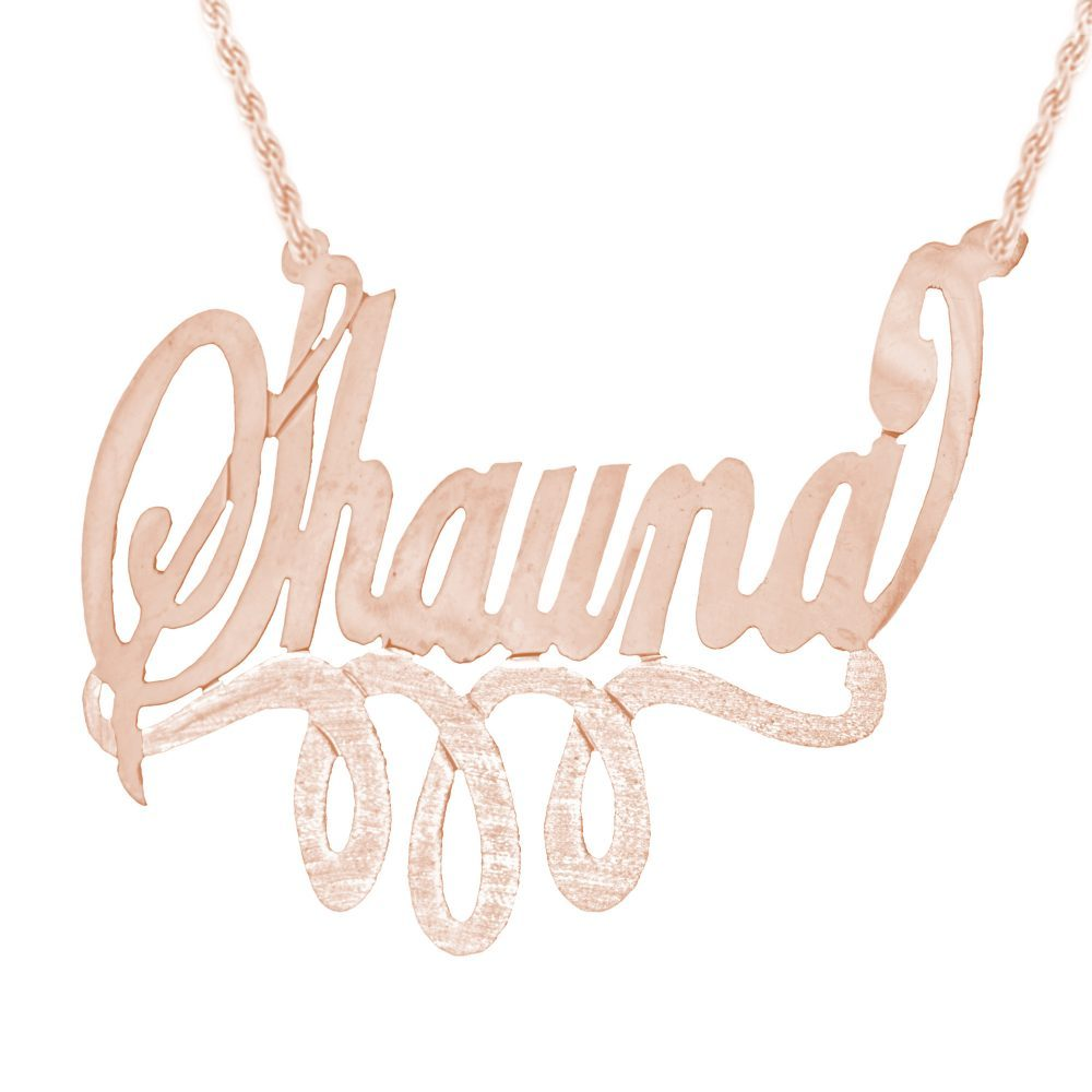 14K rose gold-plated silver swirled nameplate necklace with looped bar underneath