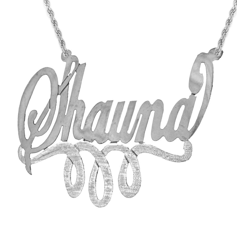 silver swirled nameplate necklace with looped bar underneath