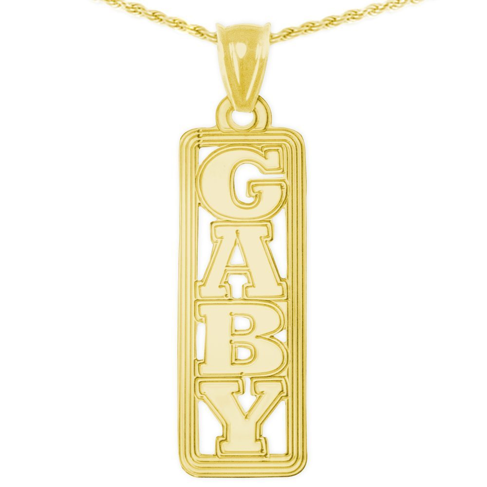 24k gold-plated sterling silver vertical tag nameplate necklace with lined border