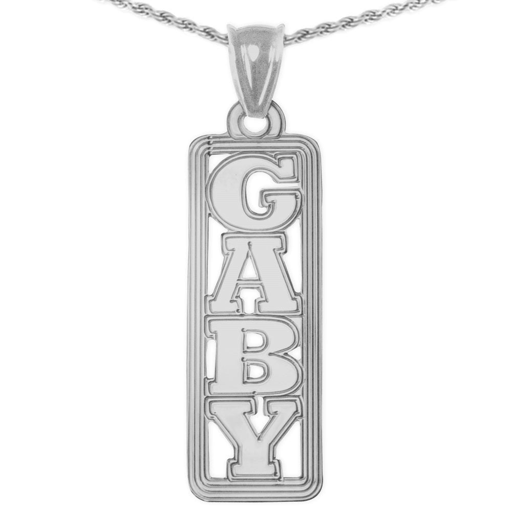 sterling silver vertical tag nameplate necklace with lined border