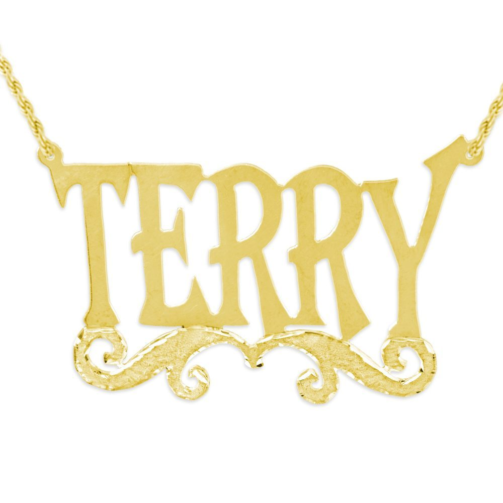 14K gold plated sterling silver-plated silver tall letter nameplate necklace with swirled bar underneath