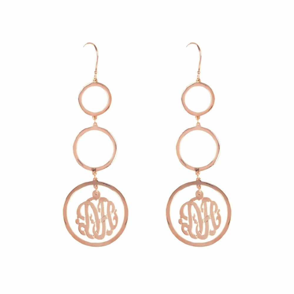14K rose_gold plated sterling silver-chandelier-monogram-earring