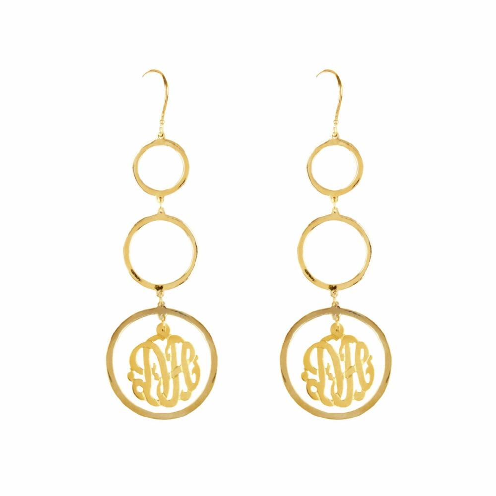 14K gold plated sterling silver-chandelier-monogram-earring