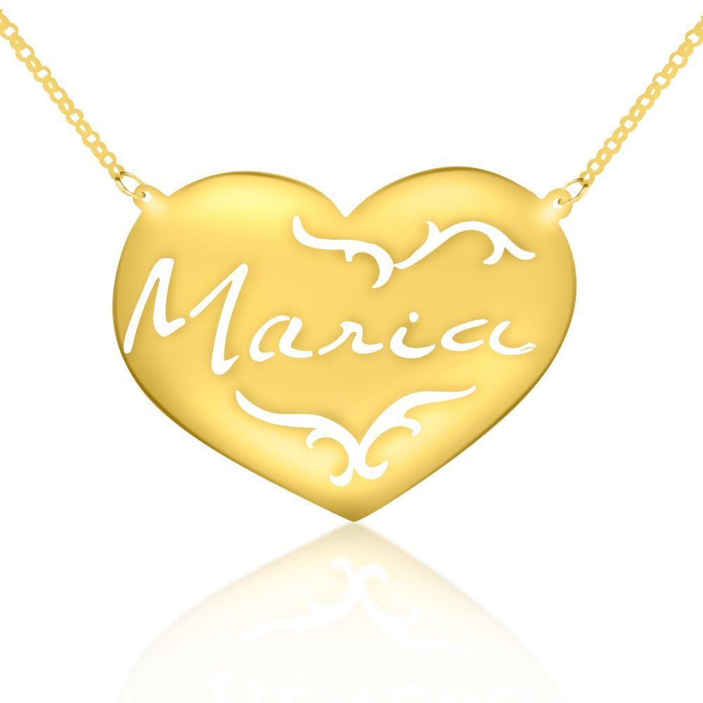 14K gold-plated silver signature engraved patterned heart nameplate necklace