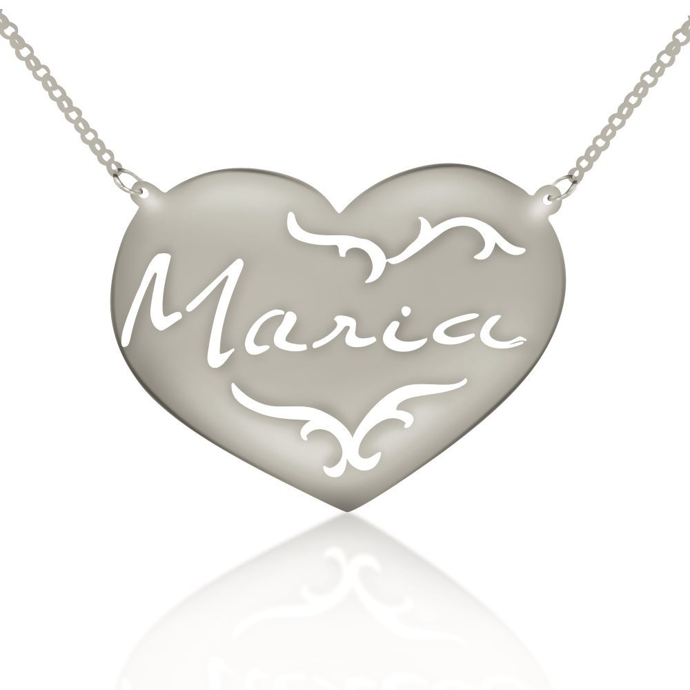 silver signature engraved patterned heart nameplate necklace