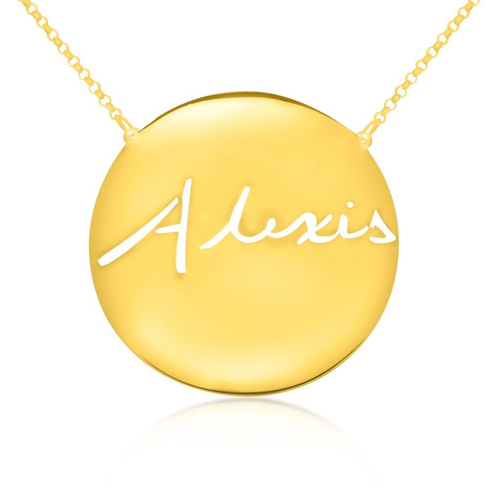 14K gold plated sterling silver -medallion-signature-name-necklace