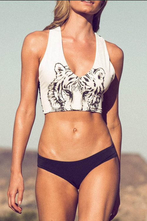 Zeefulgal Tiger Printed Two-piece Swimsuit