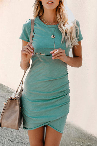 Zeefulgal Asymmetrical Light Blue Mini Dress(Nonelastic)