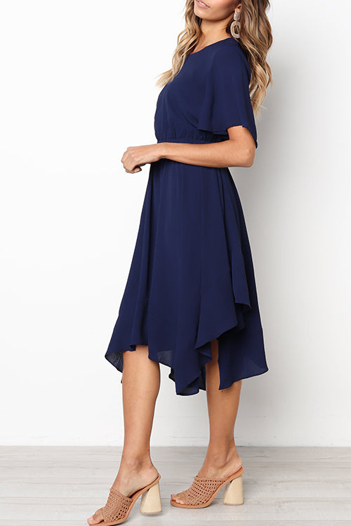 Zeefulgal Daily Round Neck Flared Sleeves Mid Calf Dress (3 colors)