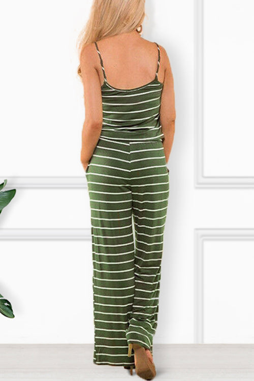 Zeefulgal Spaghetti Strap Striped One-piece Jumpsuit (4 colors)