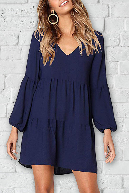 Zeefulgal Euramerican Drape Design Dark Blue Mini Dress