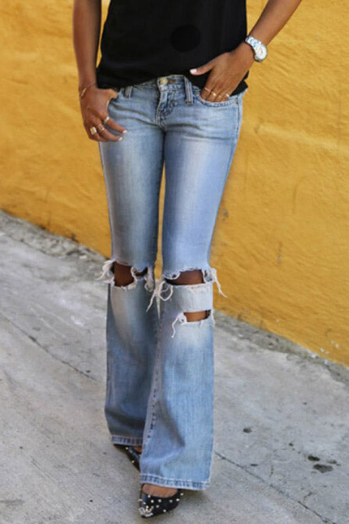 Zeefulgal Casual Hollowed-out Blue Jeans