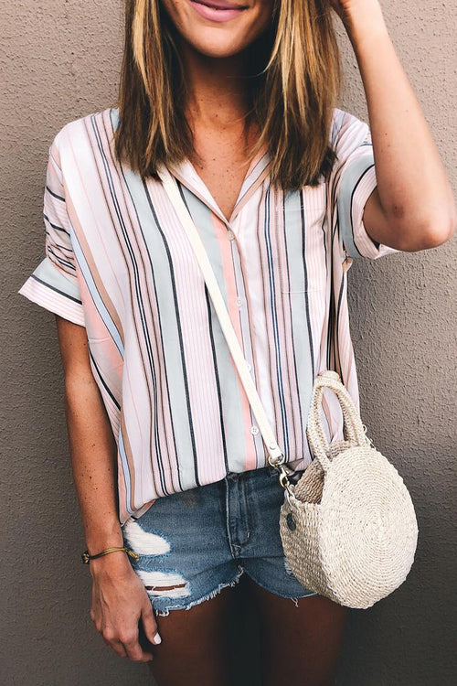 Zeefulgal Striped Buttons Design Blouses