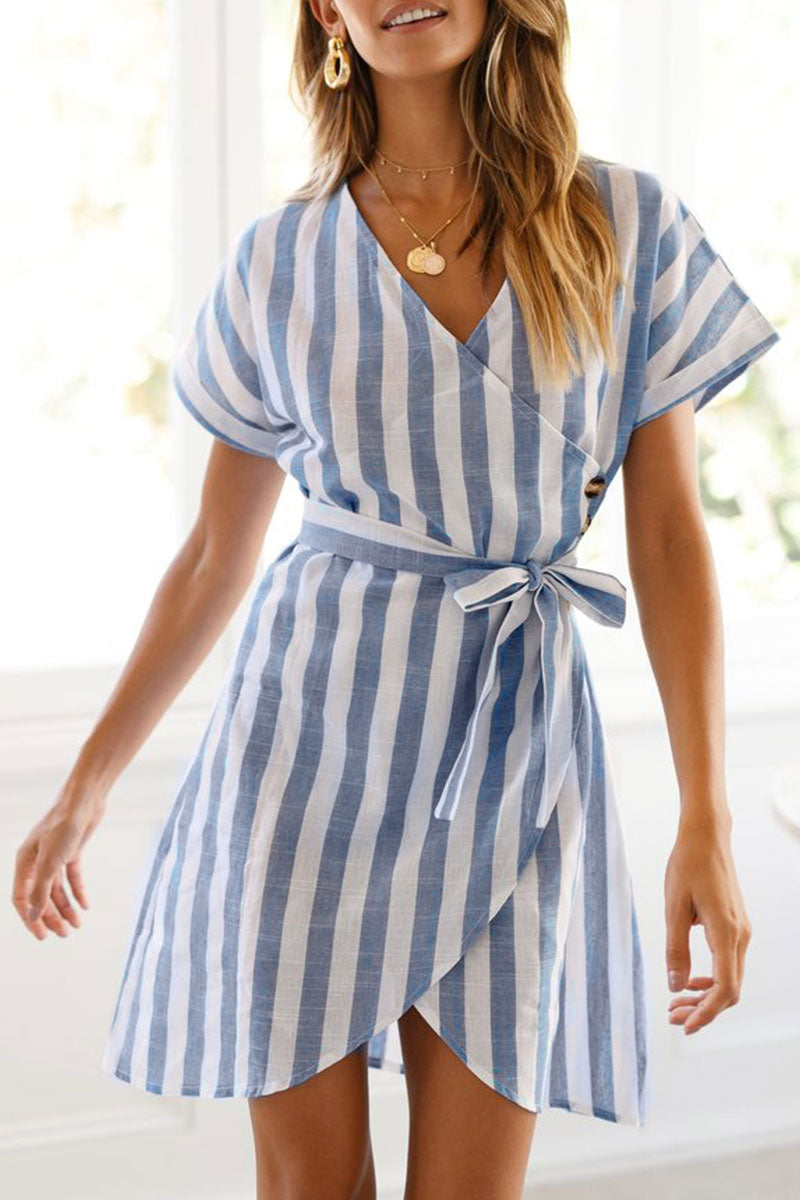 Zeefulgal Blue Striped Lace-up Casual Mini Dress (2 colors)