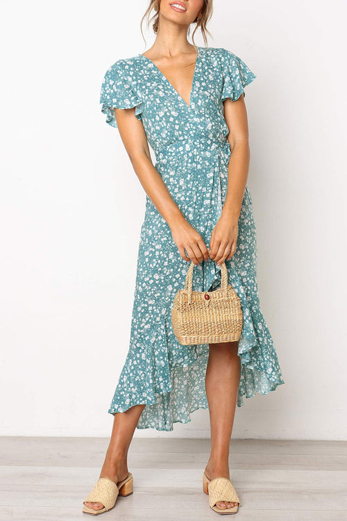 Zeefulgal Floral Printed Blue Midi Dress