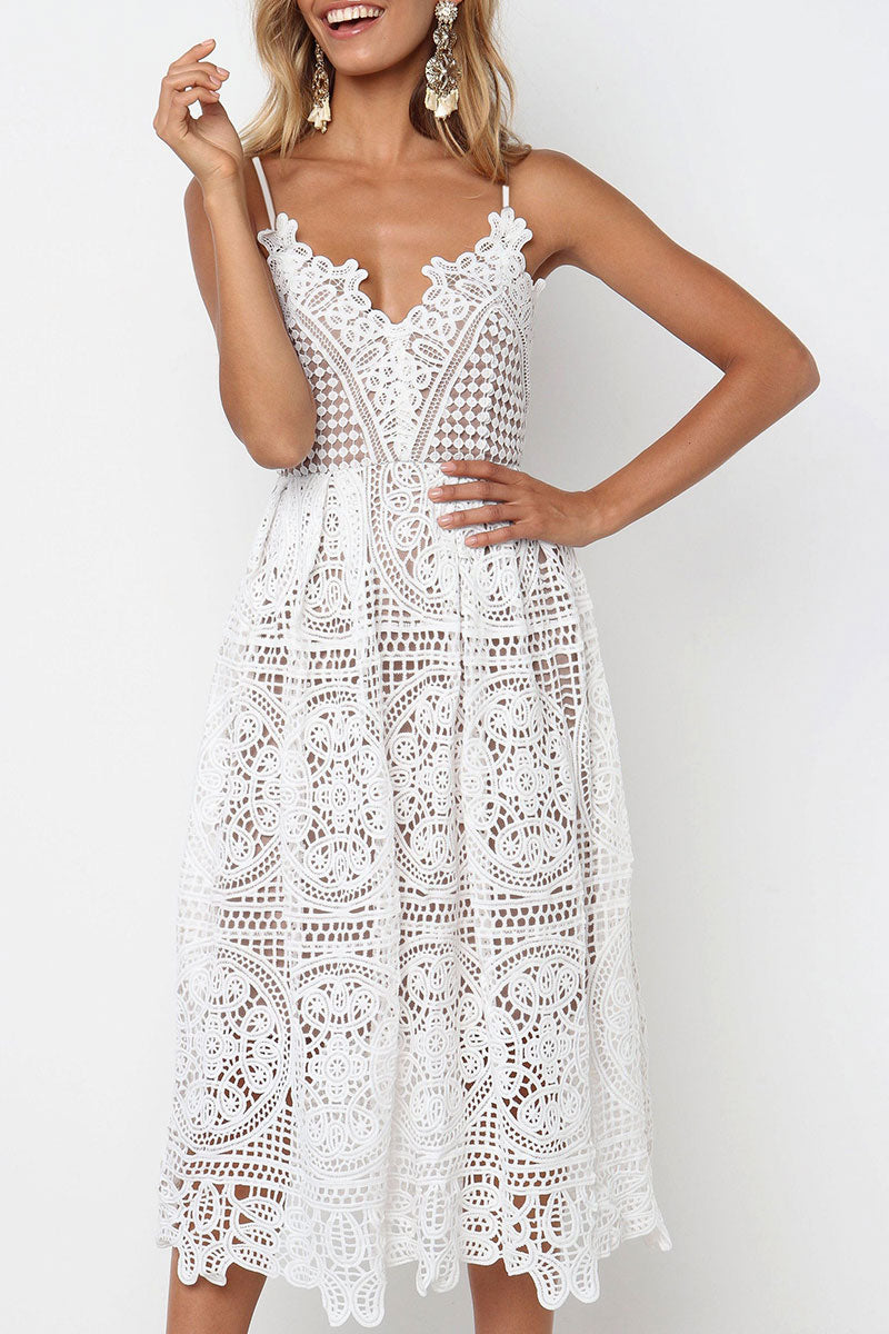 Zeefulgal White Hollow-out Lace Midi Dress(Nonelastic)
