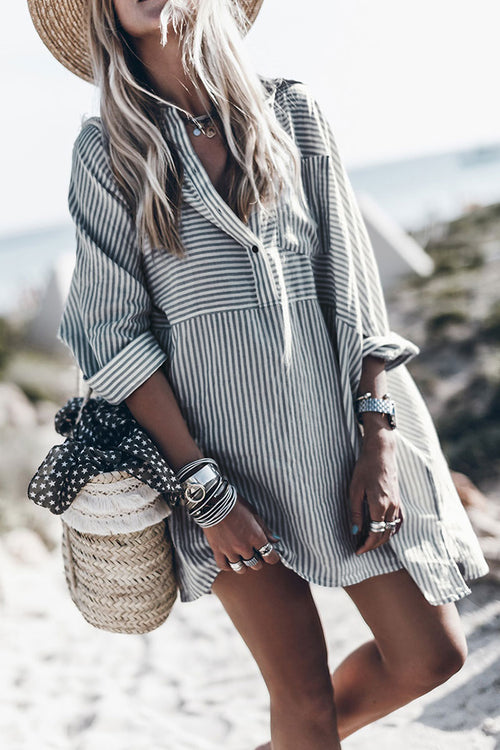 Zeefulgal Striped Loose Shirt Dress