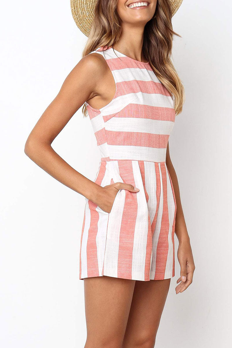 Zeefulgal Casual Striped Rompers (4 colors)