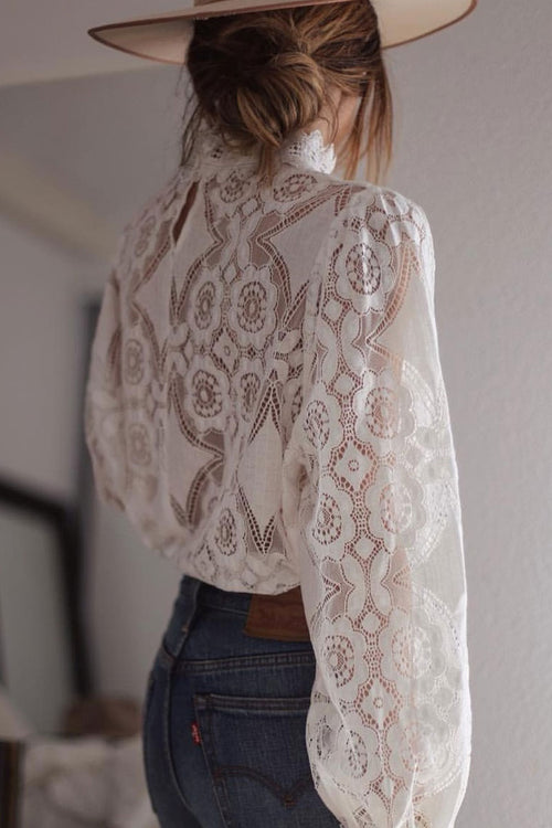 Zeefulgal Hollowed-out Puffed Sleeve Blouses