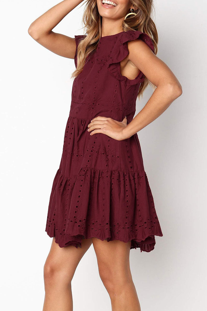 Zeefulgal Hollowed-out Ruffle Dress(Nonelastic) (3 colors)