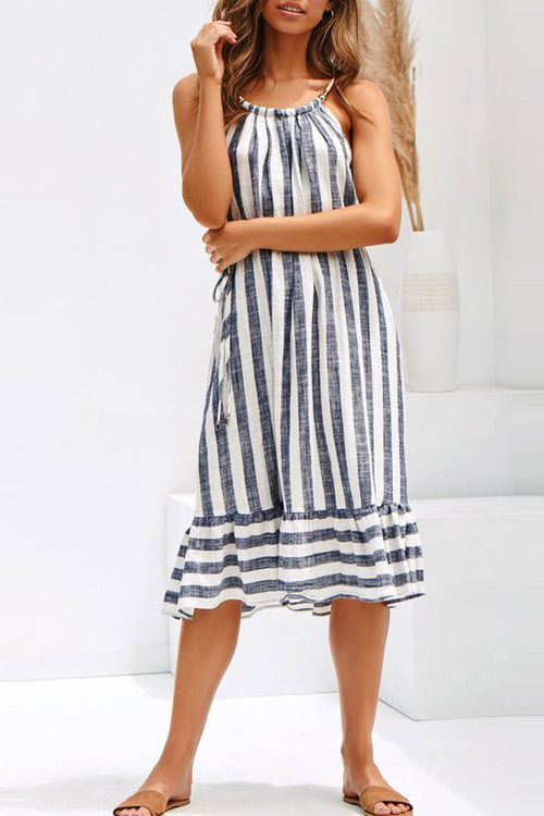 Zeefulgal Striped Patchwork Dress(With Belt)