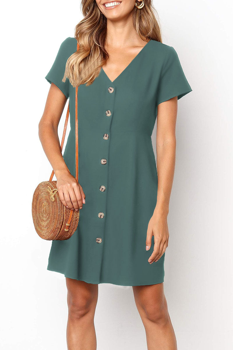 Zeefulgal Buttons Decorative Mini Dress (4 colors)