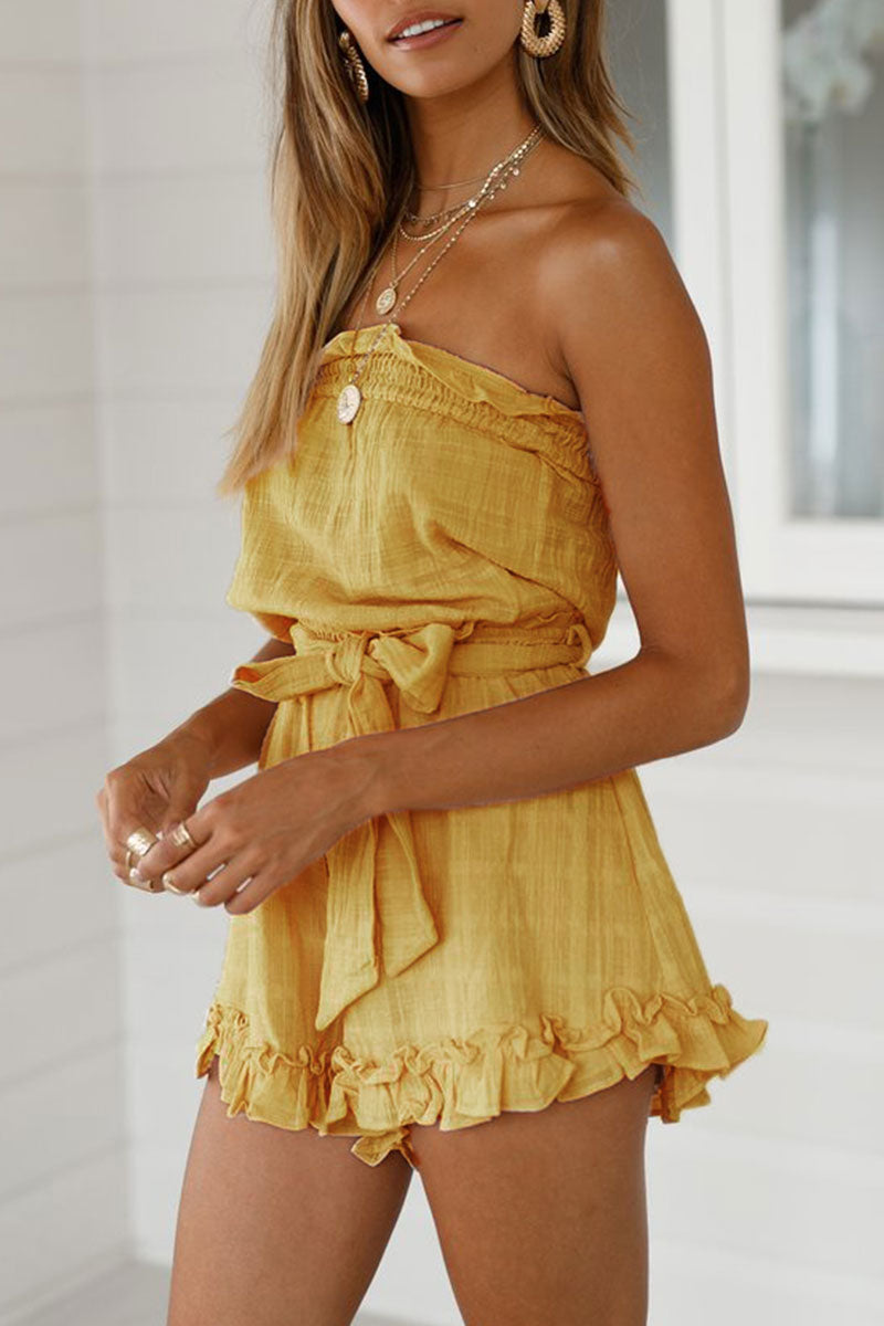 Zeefulgal Yellow Lace-up One-piece Rompers
