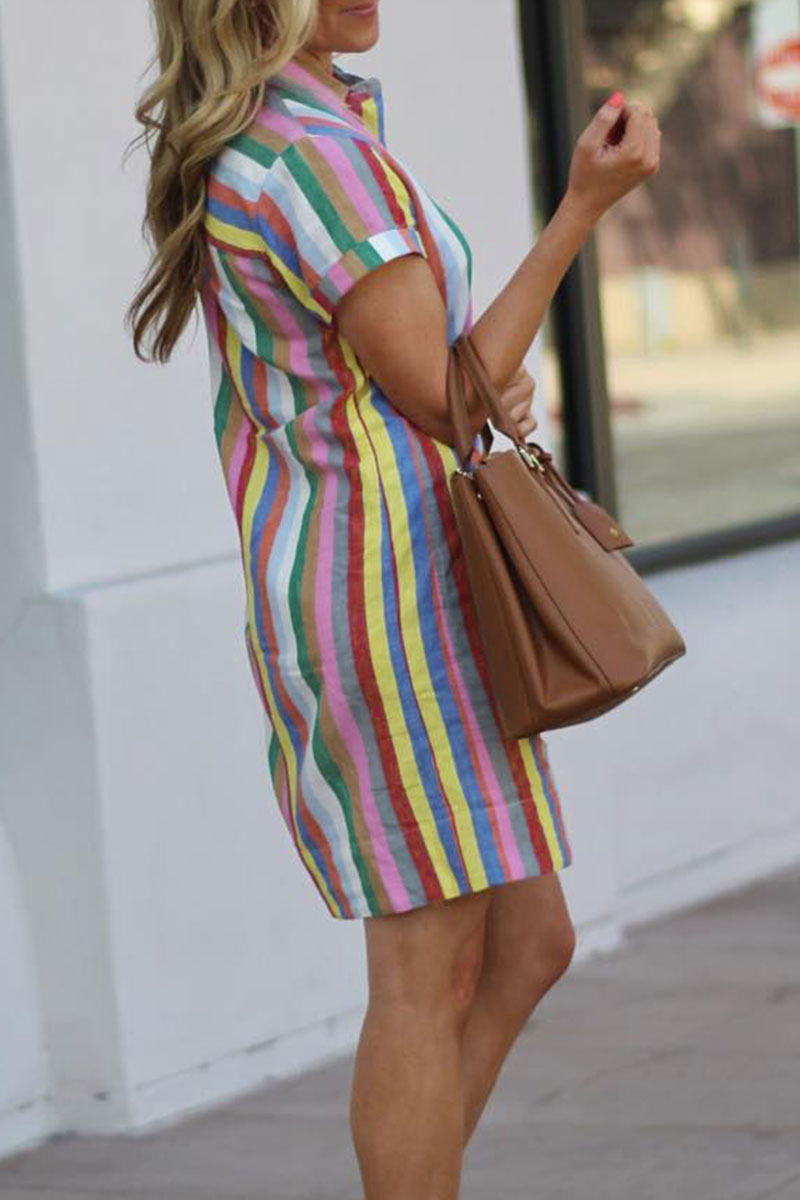 Zeefulgal Rainbow Striped Straight Dress(Nonelastic)