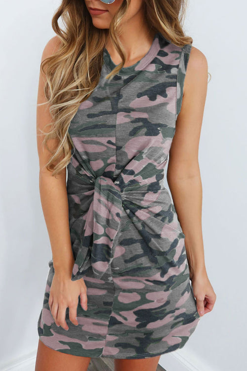 Zeefulgal Camouflage Printed Knot Design  Dress