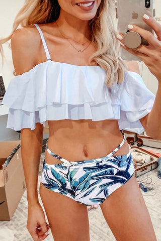 Zeefulgal One Shoulder Striped Printed Bikini
