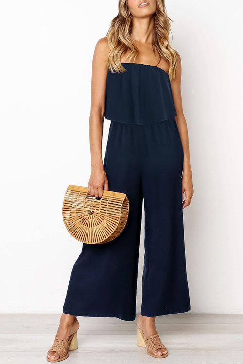 Zeefulgal Off The Shoulder Navy One-piece Jumpsuit(Nonelastic)