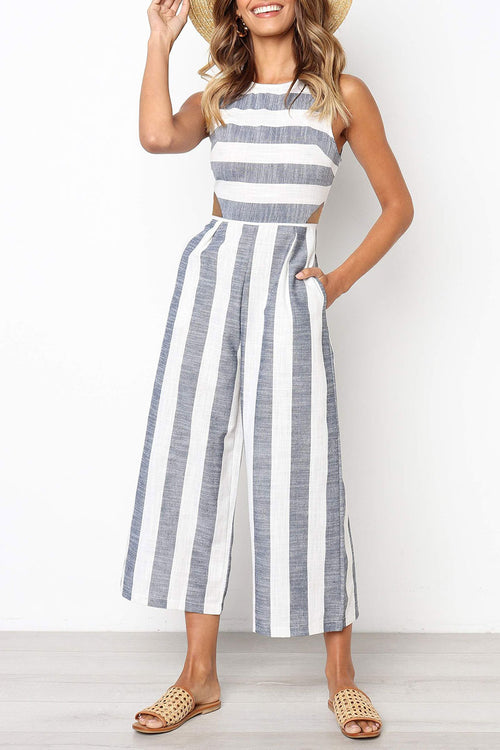 Zeefulgal Striped Hollow-out One-piece Jumpsuit(Nonelastic) (2 colors)