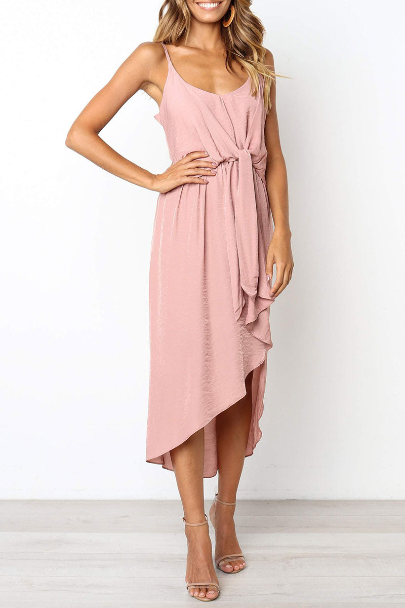 Zeefulgal Pink Asymmetrical Dress(Nonelastic)