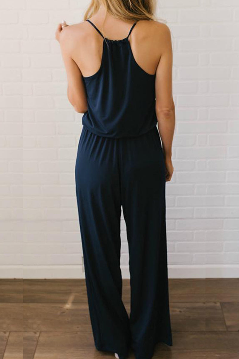Zeefulgal V Neck Dark Blue Loose One-piece Jumpsuit