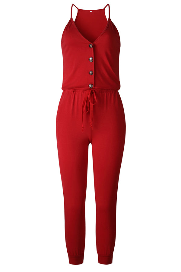 Zeefulgal V Neck Lace-up One-piece Jumpsuit (2 colors)
