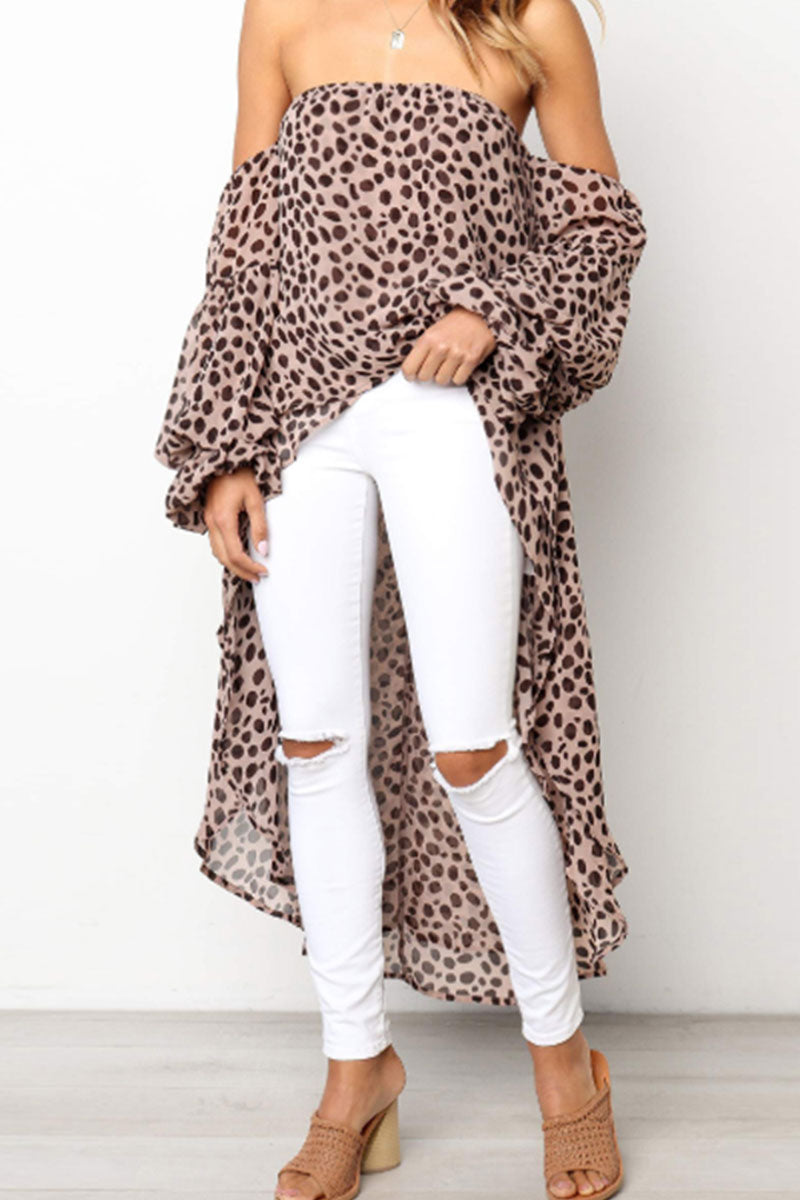Zeefulgal Off The Shoulder Leopard Asymmetrical Blouse