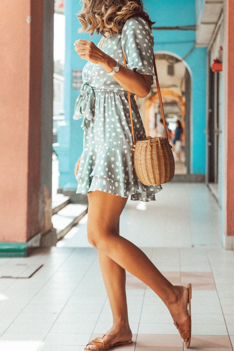 Zeefulgal Bohemian Dots Light Mini A Line Dress(Nonelastic)