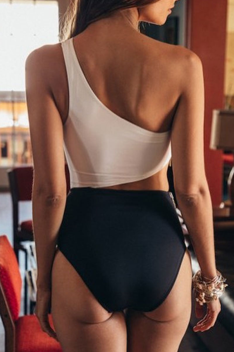 Zeefulgal One Shoulder Patchwork Zipper One-piece Swimsuit