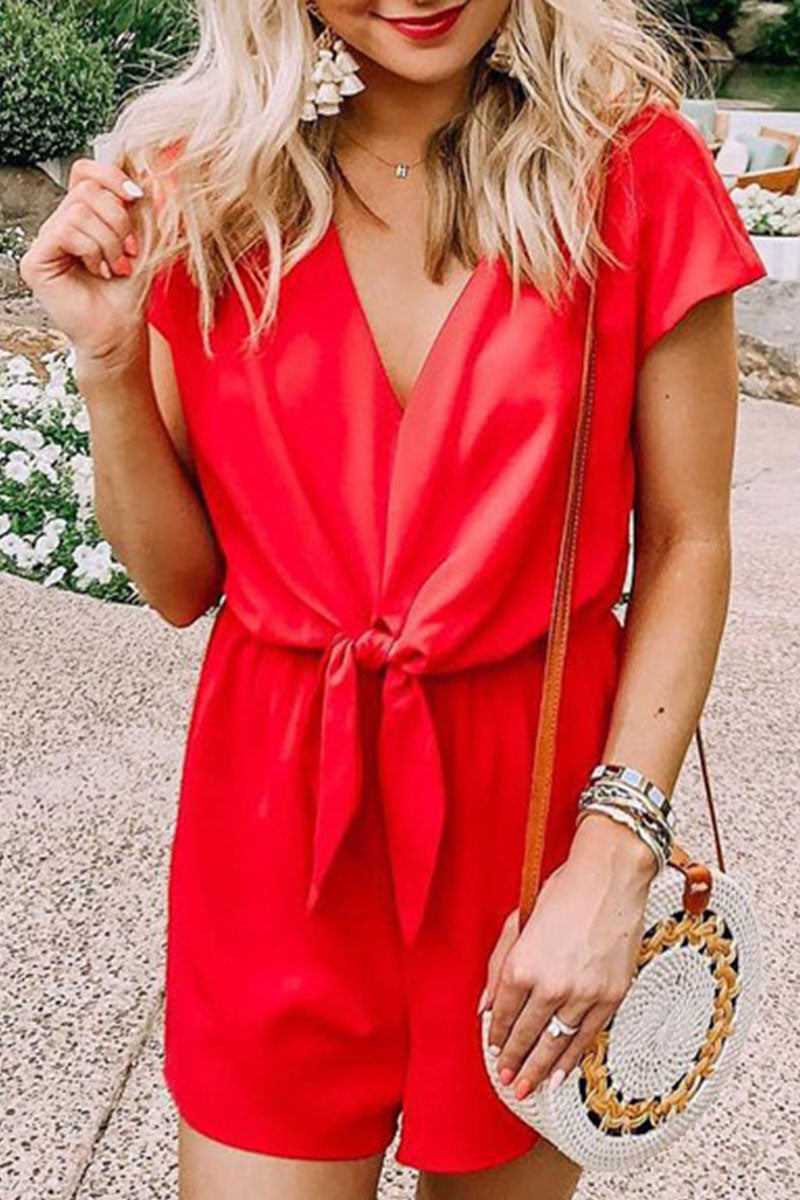Zeefulgal V Neck Knot Red One-piece Romper(Nonelastic)