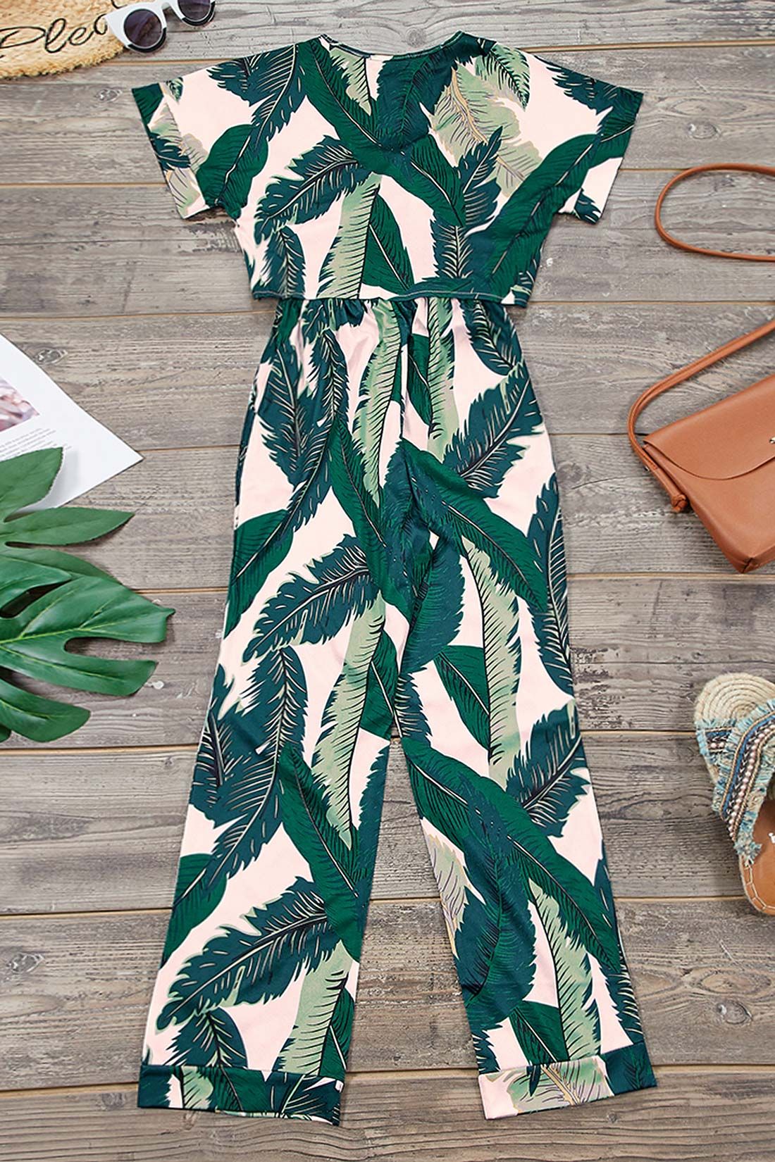 Zeefulgal High Waist Printed Two-piece Pants Set