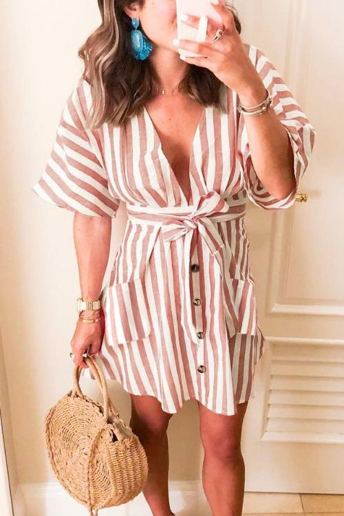 Zeefulgal Euramerican Striped Buttons Mini Dress (4 colors)