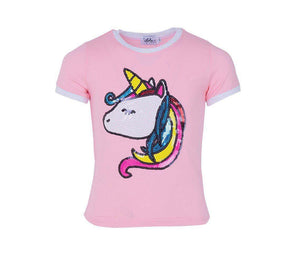 Lola and the Boys SEQUIN UNICORN RINGER T SHIRT