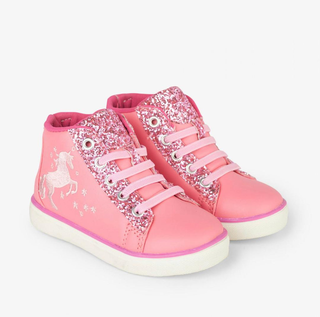 Hatley Pink Glitter Unicorn High Top Sneaker