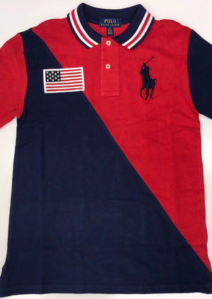 Ralph Lauren Red Big Pony American Flag Polo