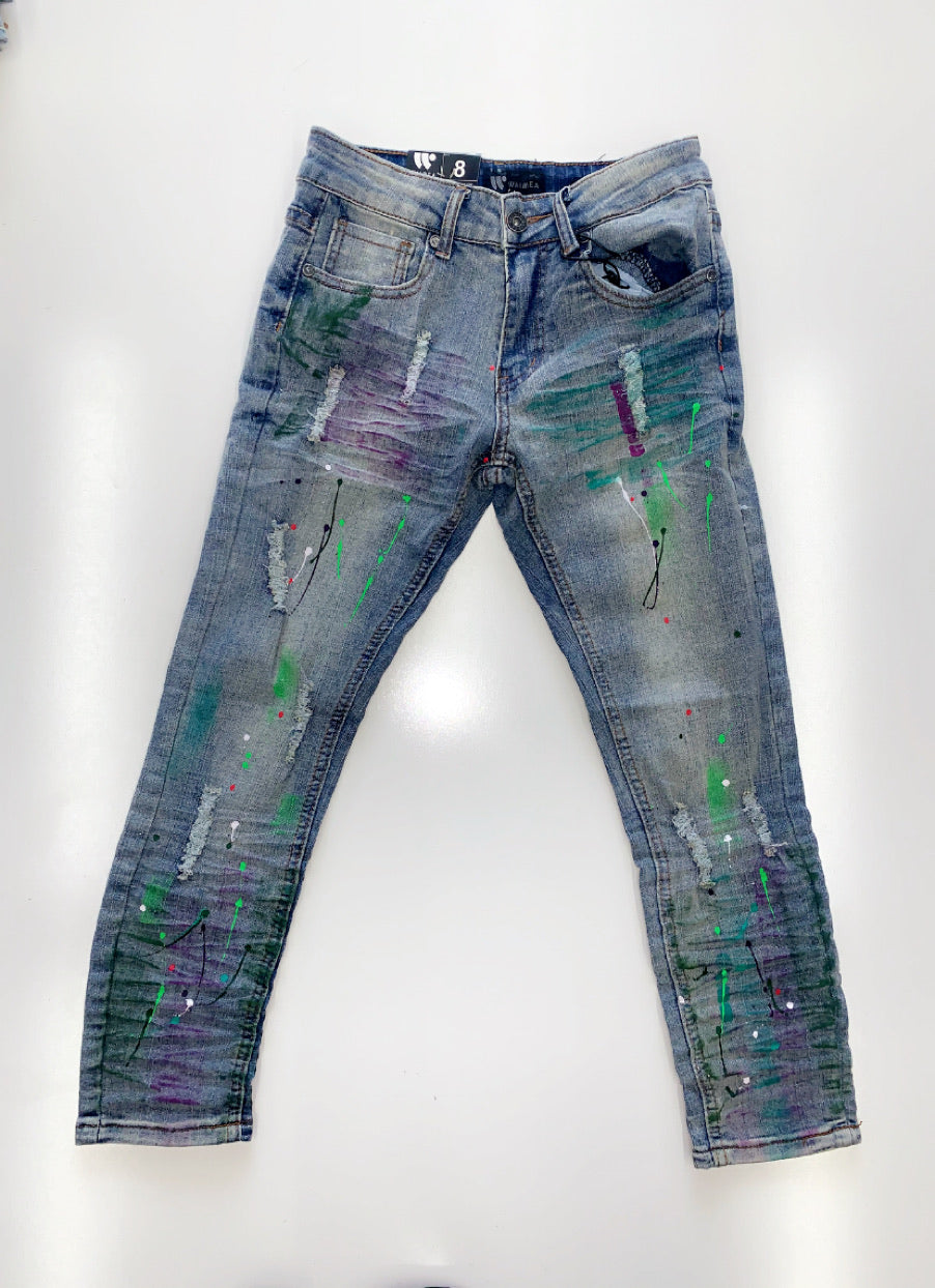 Purple and Green paint denim