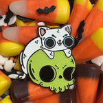Skull Kitty Glow in the Dark Enamel Pins