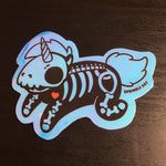 Opal Shiny Unicorn Skeleton Sticker