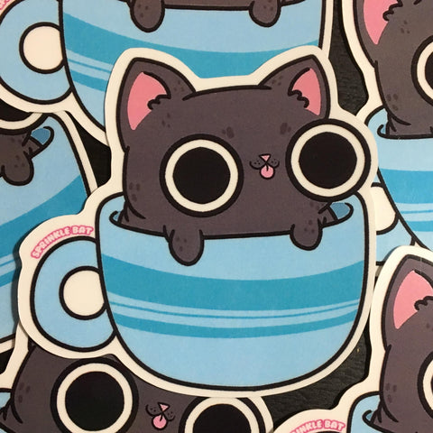 Tea Cup Kitty Sticker