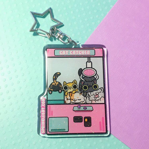 Cat Catcher Crane Keychain